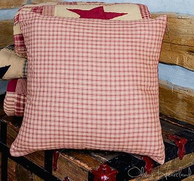 Burgundy & Tan Plaid 16 inch Pillow Cover
