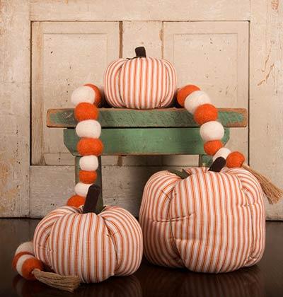 Orange Ticking Stripe Pumpkin - Large