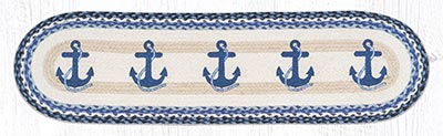 OP-443 Navy Anchor 48 inch Braided Table Runner