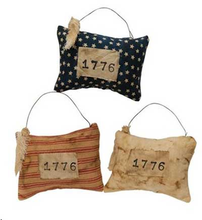 1776 Pillow Ornaments (Set of 3)