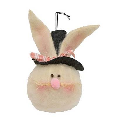 Large Top Hat Bunny Head Ornament
