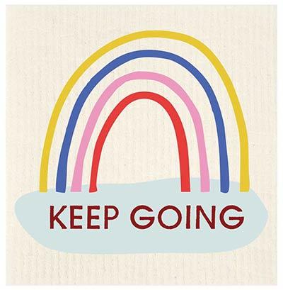 Keep Going Rainbow Swedish Dishcloth