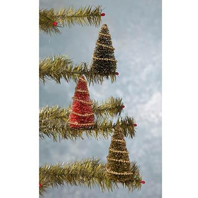 Bottle Brush Tree Clip Ornaments (Set of 3)
