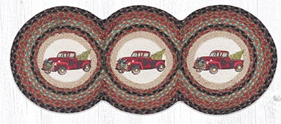 TCP-530 Christmas Truck Braided Tri Circle Table Runner