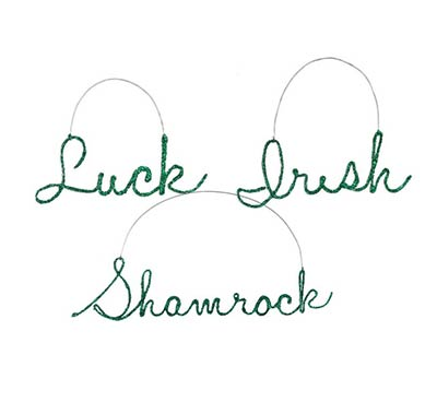 St. Patrick's Day Glittered Word Ornaments (Set of 3)