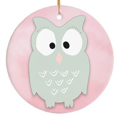 Mint Green Owl Personalized Ornament
