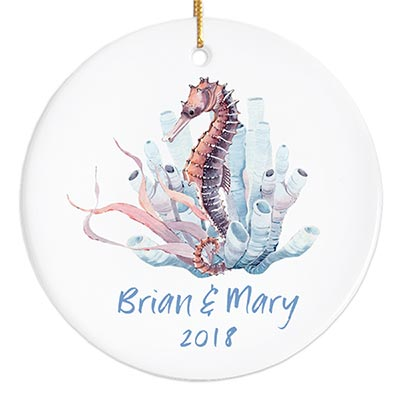 Watercolor Seahorse Personalized Ornament