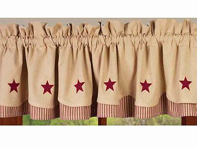 Barn Red Star and Nutmeg Fairfield Valance