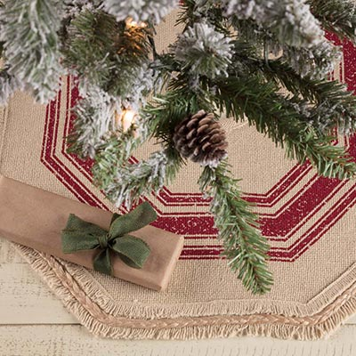 Vintage Burlap Stripe Red Mini 21 inch Tree Skirt