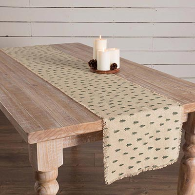 Vintage Burlap Tree 72 inch Table Runner