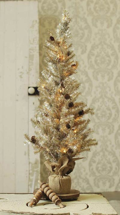 Pre-Lit Tinsel Tree with Pine Cones - 36 inch