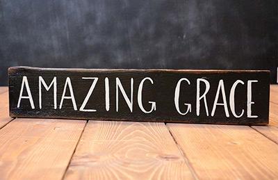 Amazing Grace Wood Sign (Black)