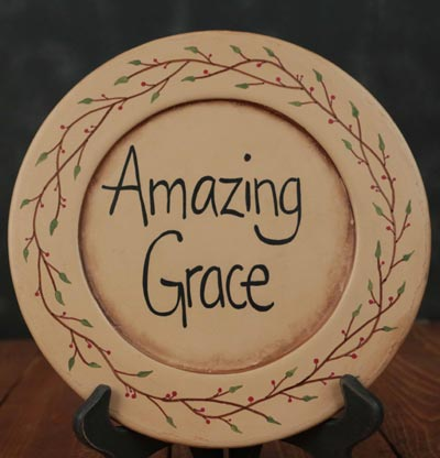 Amazing Grace Hand Painted Plate