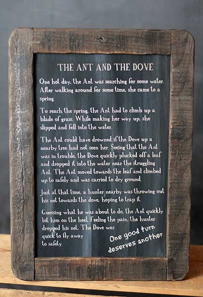 Ant and the Dove Folk Tale Blackboard