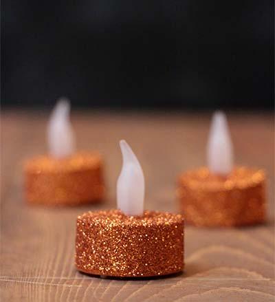 Orange Glitter LED Tealight Candle