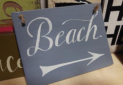 Beach with Arrow Sign - Blue