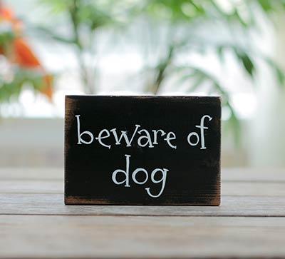 Beware of Dog Wood Sign