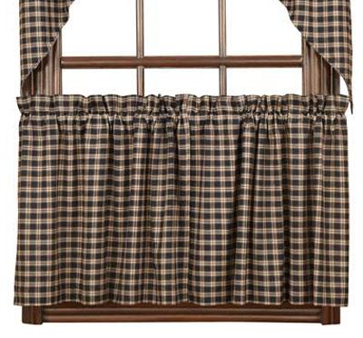 Bingham Star Black Plaid Cafe Curtains - 24 inch Tiers