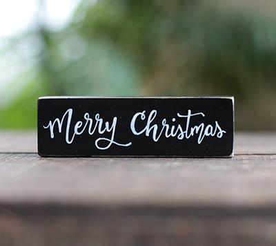 Merry Christmas Shelf Sitter - Black