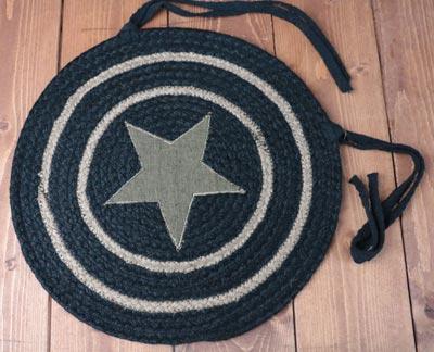 Burlap Star Black Braided Chair Pad