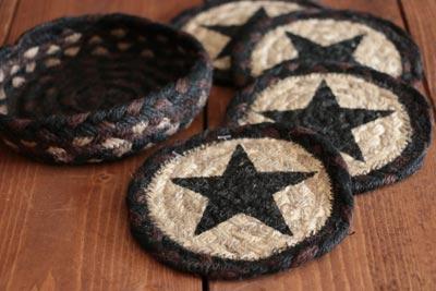 Black Star Braided Jute Coaster Set