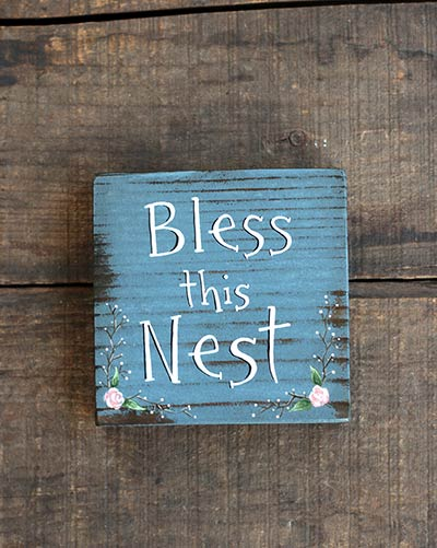 Bless This Nest Sign with Roses
