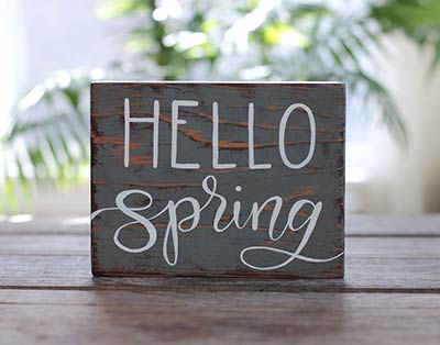 Hello Spring Hand Lettered Wood Sign