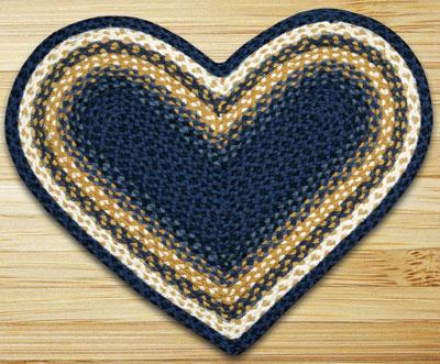Light/Dark Blue and Mustard Heart Jute Rug