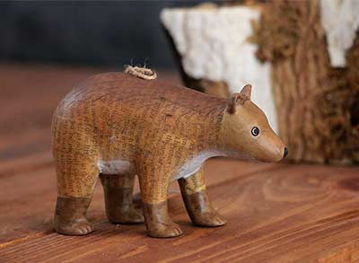Recycled Paper Animal Ornament - Bear