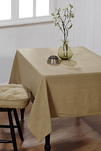 Natural Burlap Tablecloth, 60 x 120 inch