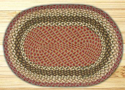 Olive, Burgundy, & Grey Oval Jute Rug - 20 x 30 inch