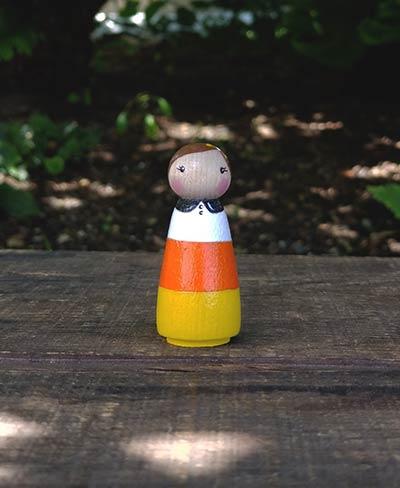 Halloween Candy Corn Peg Doll Girl