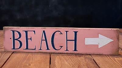 Beach Wood Sign with Arrow