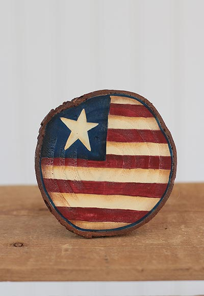 Americana Wood Slice Ornament