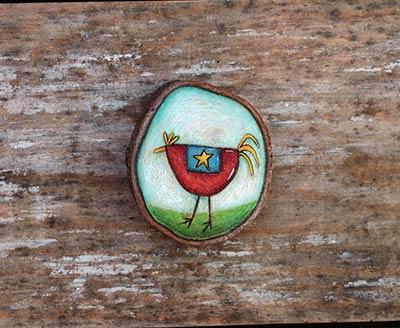 Folk Art Chicken Wood Slice Ornament