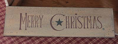 Merry Christmas Primitive Sign with Star