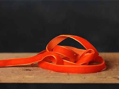 Orange Velvet Ribbon, 3/8 inch
