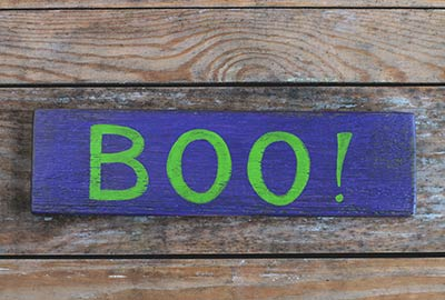 Boo Hand Lettered Wood Sign