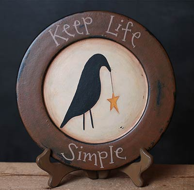 Keep Life Simple Primitive Plate with Crow