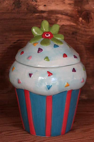 Blue Cupcake Canister