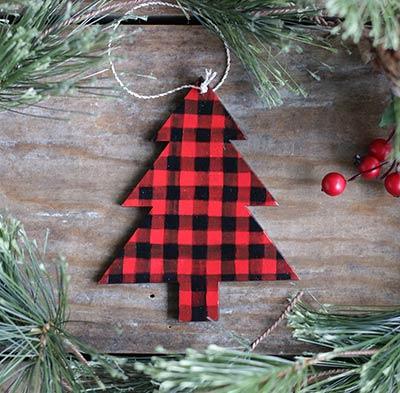 Buffalo Check Tree Personalized Ornament
