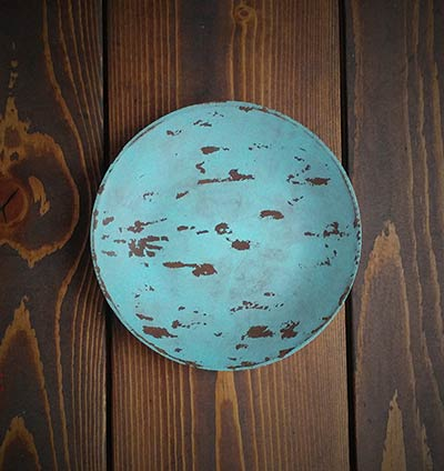 Robin's Egg Blue Chippy 6inch Candle Plate