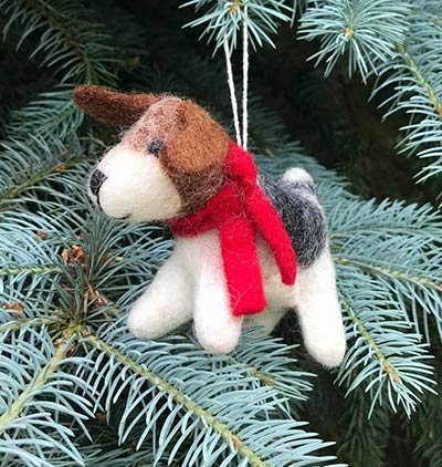 Terrier Dog with Red Scarf Felt Ornament