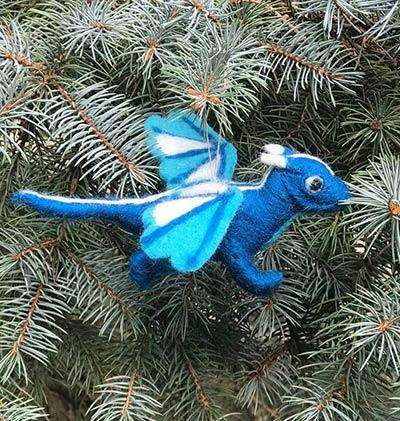 Blue Dragon Wool Ornament