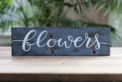 Flowers Hand Lettered Wood Sign (Color Options Available)