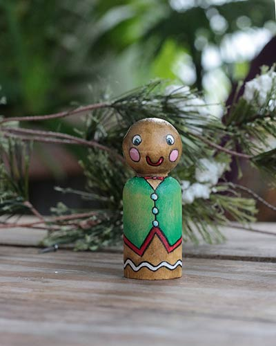 Gingerbread Man in Green Vest Peg Doll