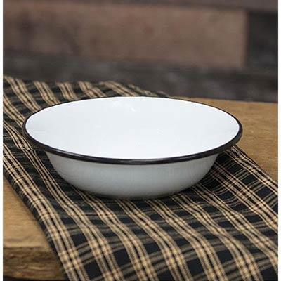 White Enamel Bowl with Black Rim