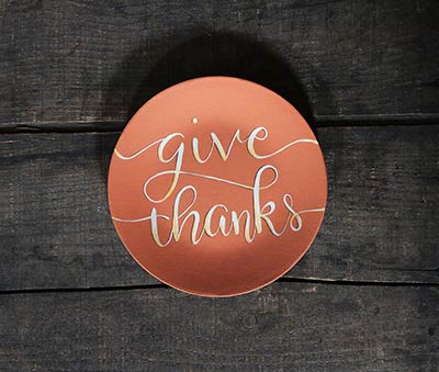 Give Thanks Typography Plate