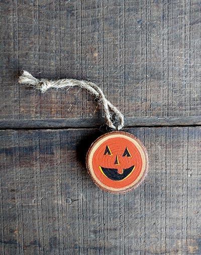 Mini Jack O'Lantern Wood Slice Ornament