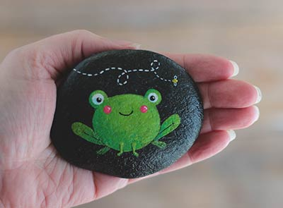 Frog with Bee Hand Painted Pocket Rock